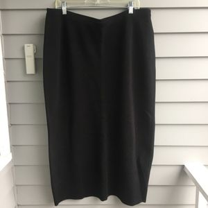 EILEEN FISHER Black Double Knit Mid Length Skirt S